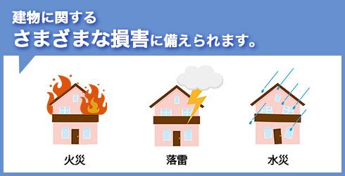 建物に関するさまざまな損害に備えられます。